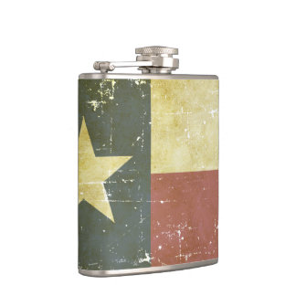 Worn Patriotic Texas State Flag Hip Flask