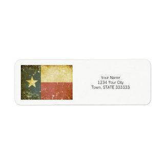 Worn Patriotic Texas State Flag Return Address Label