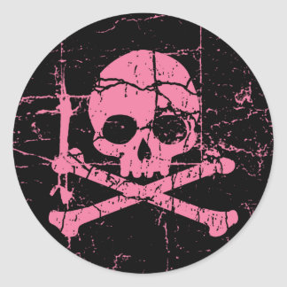 Worn Pink Skull and Crossbones Classic Round Sticker