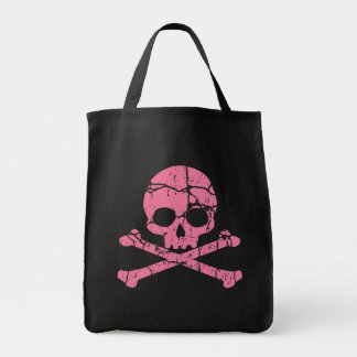 Worn Pink Skull and Crossbones Grocery Tote Bag