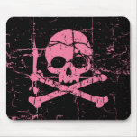 Worn Pink Skull and Crossbones Mouse Mats
