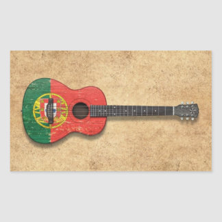 Worn Portuguese Flag Acoustic Guitar Stickers