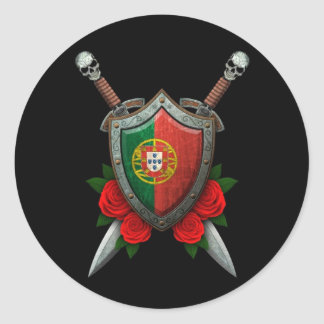 Worn Portuguese Flag Shield and Swords with Roses Round Sticker