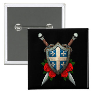 Worn Quebec Flag Shield and Swords with Roses Buttons