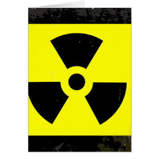 Worn Radioactive Warning Symbol Card
