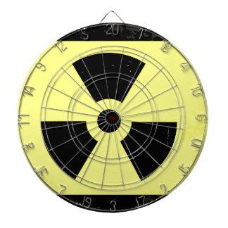 Worn Radioactive Warning Symbol Dart Board