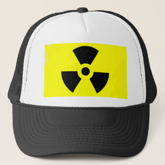 Worn Radioactive Warning Symbol Trucker Hat