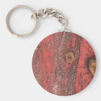 Worn Red Wood Key Ring