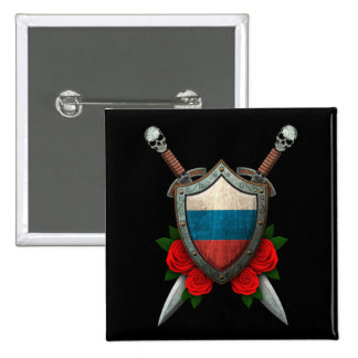 Worn Russian Flag Shield and Swords with Roses Pinback Buttons