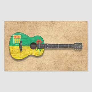 Worn Saskatchewan Flag Acoustic Guitar Rectangle Sticker