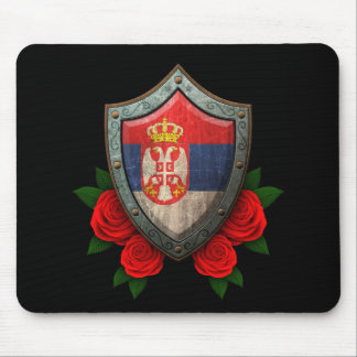 Worn Serbian Flag Shield with Red Roses Mousepad