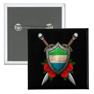 Worn Sierra Leone Flag Shield and Swords with Rose Button
