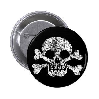 Worn Skull and Crossbones 6 Cm Round Badge