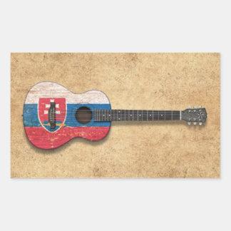 Worn Slovakian Flag Acoustic Guitar Rectangle Sticker