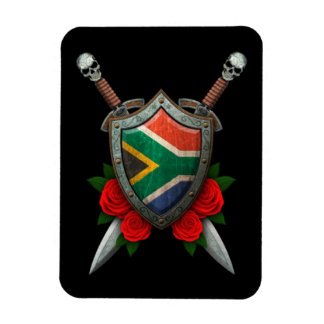 Worn South African Flag Shield and Swords with Ros Rectangular Magnets