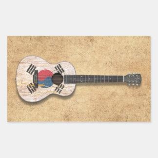Worn South Korean Flag Acoustic Guitar teal Rectangle Sticker