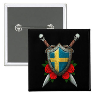 Worn Swedish Flag Shield and Swords with Roses Pinback Button