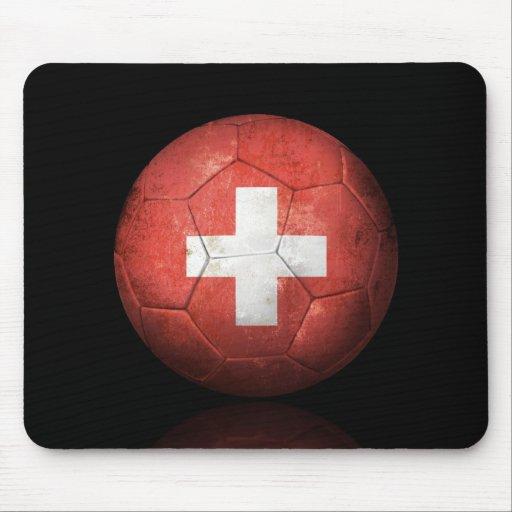 Worn Swiss Flag Football Soccer Ball Mouse Pads