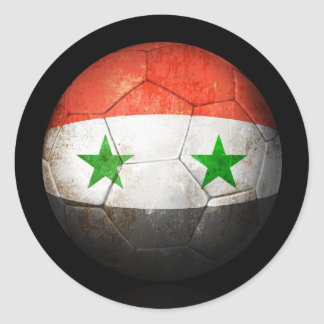 Worn Syrian Flag Football Soccer Ball Classic Round Sticker