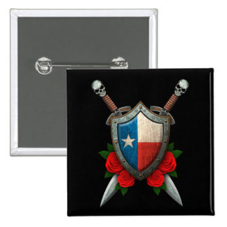 Worn Texas Flag Shield and Swords with Roses Pinback Button