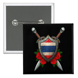 Worn Thai Flag Shield and Swords with Roses Button