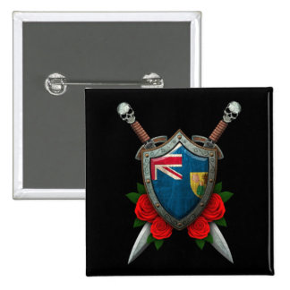 Worn Turks and Caicos Flag Shield and Swords Buttons