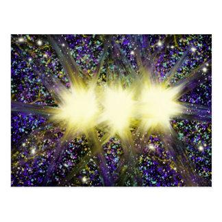 Worship Art 3 Yellow Stars on Blue Dec 2017 ESSL Postcard