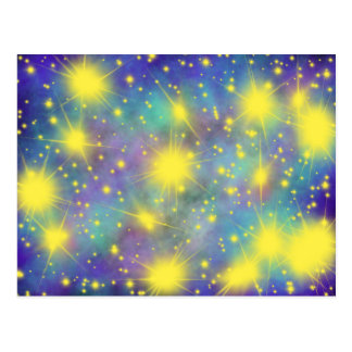 Worship Art Yellow Stars on Blue 16th Dec 17 HC Postcard