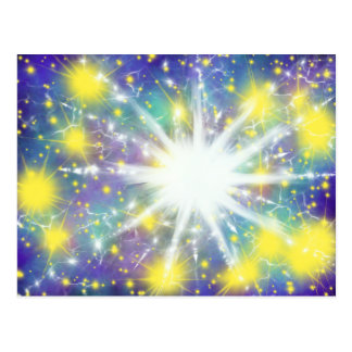 Worship Art Yellow Stars White Star 16th Dec 17 HC Postcard