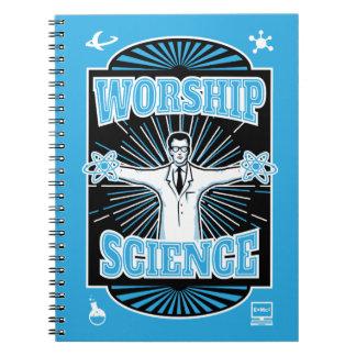Worship Science Slogan Spiral Notebooks