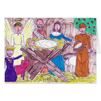 Worshipping Jesus in the Stable Christmas Card