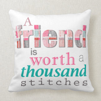 Worth A Thousand Stitches Typography Throw Pillow