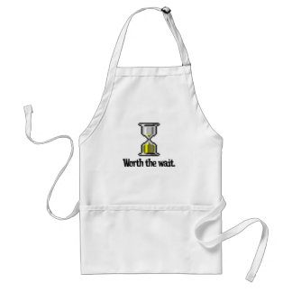 worth the wait pc hourglass icon apron
