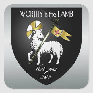Worthy is the Lamb that was Slain Christian Square Sticker