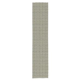 WOVEN1 BLACK MARBLE & BEIGE LINEN (R) SHORT TABLE RUNNER