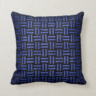 WOVEN1 BLACK MARBLE & BLUE BRUSHED METAL CUSHION