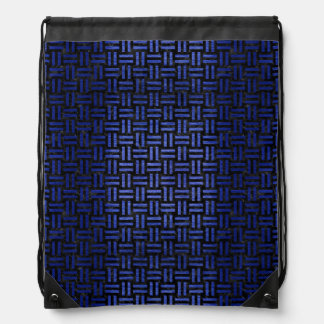 WOVEN1 BLACK MARBLE & BLUE BRUSHED METAL DRAWSTRING BAG