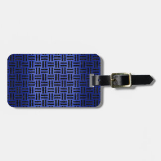 WOVEN1 BLACK MARBLE & BLUE BRUSHED METAL (R) LUGGAGE TAG