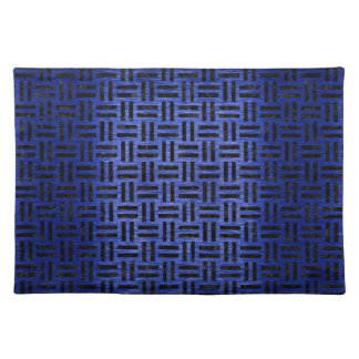 WOVEN1 BLACK MARBLE & BLUE BRUSHED METAL (R) PLACEMAT