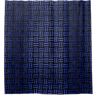 WOVEN1 BLACK MARBLE & BLUE BRUSHED METAL SHOWER CURTAIN