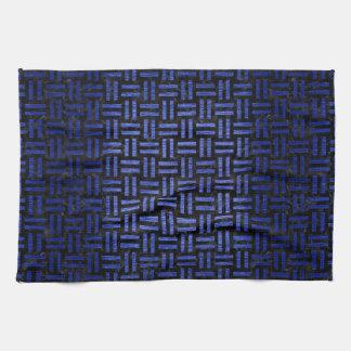 WOVEN1 BLACK MARBLE & BLUE BRUSHED METAL TEA TOWEL