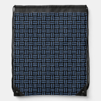 WOVEN1 BLACK MARBLE & BLUE DENIM DRAWSTRING BAG