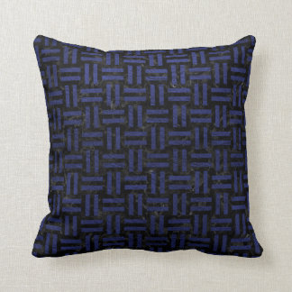 WOVEN1 BLACK MARBLE & BLUE LEATHER CUSHION