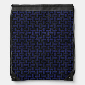 WOVEN1 BLACK MARBLE & BLUE LEATHER DRAWSTRING BAG