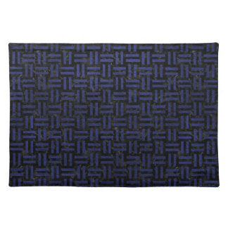 WOVEN1 BLACK MARBLE & BLUE LEATHER PLACEMAT