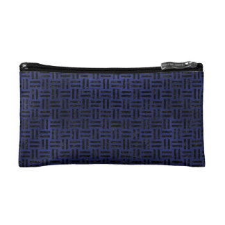 WOVEN1 BLACK MARBLE & BLUE LEATHER (R) COSMETIC BAG