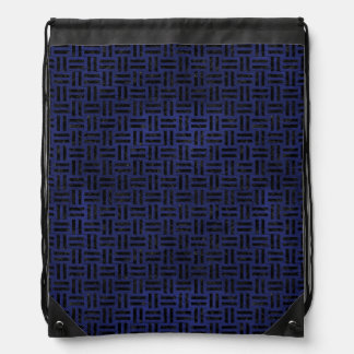 WOVEN1 BLACK MARBLE & BLUE LEATHER (R) DRAWSTRING BAG