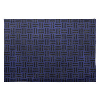 WOVEN1 BLACK MARBLE & BLUE LEATHER (R) PLACEMAT