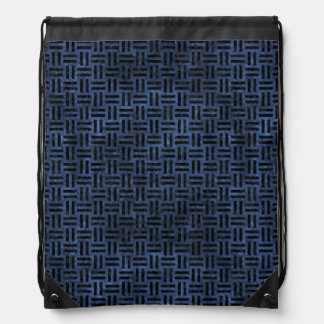 WOVEN1 BLACK MARBLE & BLUE STONE (R) DRAWSTRING BAG