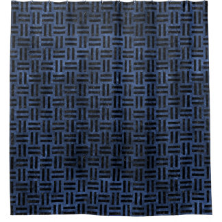 WOVEN1 BLACK MARBLE & BLUE STONE (R) SHOWER CURTAIN